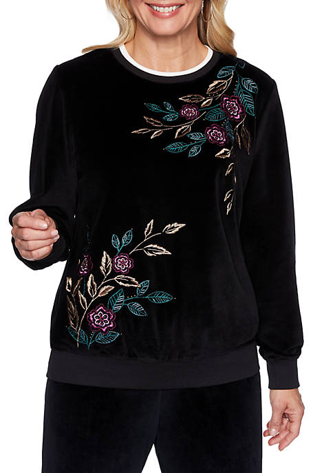 Alfred Dunner Bright Idea Asymmetric Floral Knit Top