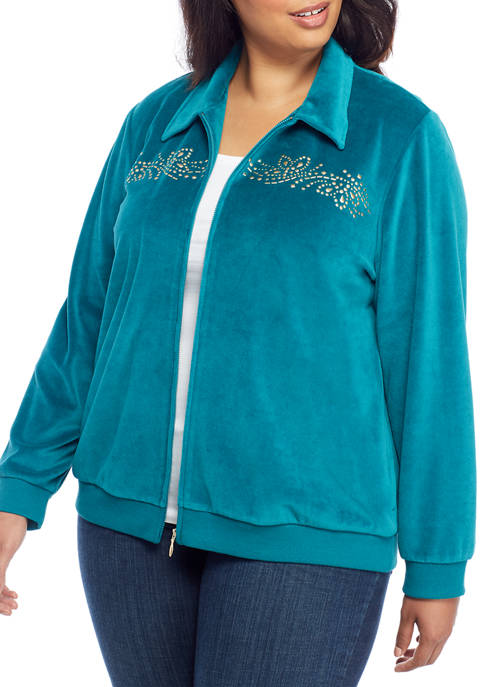 Alfred Dunner Plus Size Embroidered Yoke Jacket