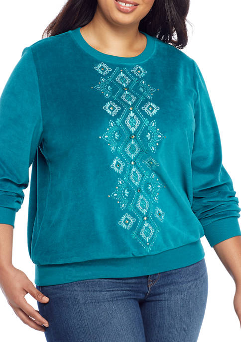 Plus Size Diamond Embroidered Knit Pullover