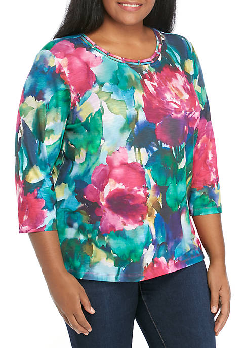 Alfred Dunner Plus Size Watercolor Flowers Knit Top