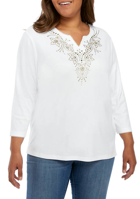 Alfred Dunner Plus Size Embroidered Yoke Knit Top