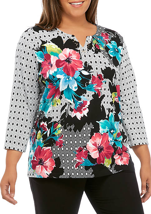 Alfred Dunner Plus Size Bright Idea Floral Geometric