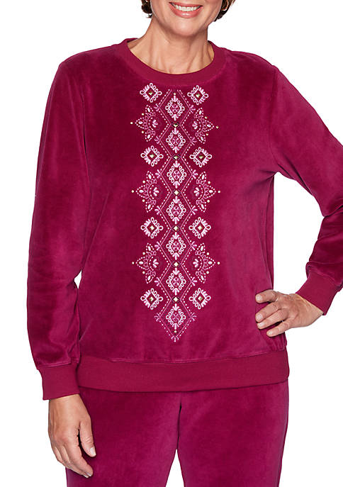Alfred Dunner Petite Bright Idea Diamond Embroidered Knit
