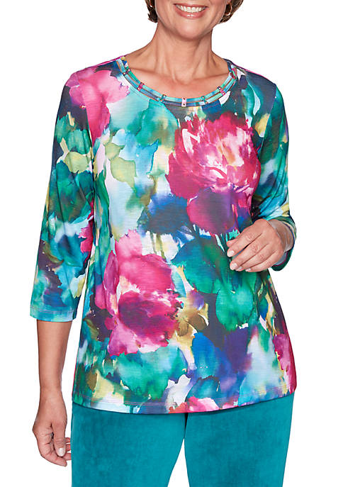Alfred Dunner Petite Bright Idea Watercolor Flowers Knit