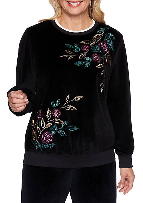 Alfred Dunner Petite Bright Idea Asymmetric Floral Knit