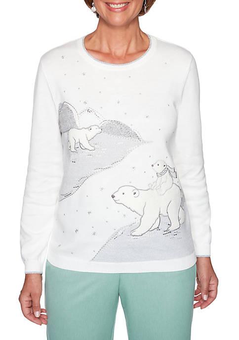 Alfred Dunner Womens Lake Geneva Polar Bear Textured