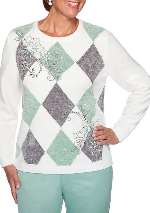 Womens Lake Geneva Argyle Sweater
