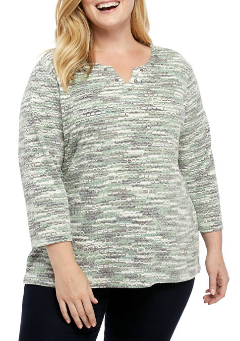 Alfred Dunner Plus Size Lake Geneva Texture Space