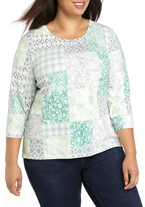 Alfred Dunner Plus Size Lake Geneva Patchwork Knit