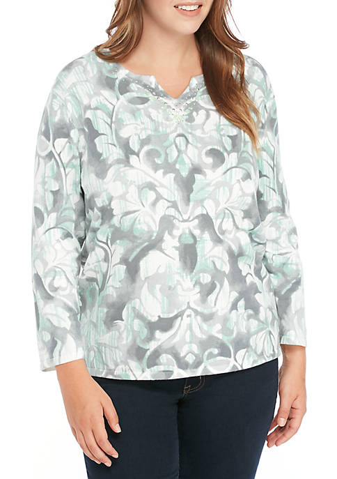 Alfred Dunner Plus Size Large Medallion Scroll Knit