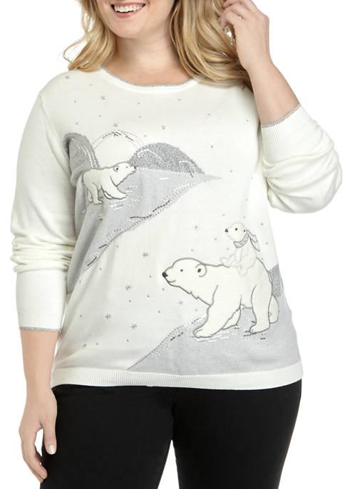 Alfred Dunner Plus Size Polar Bear Sweater