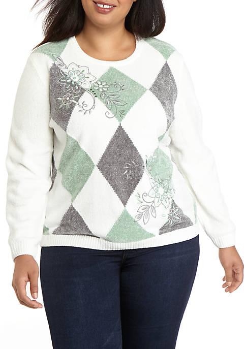 Plus Size Lake Geneva Diamond Chenille Sweater