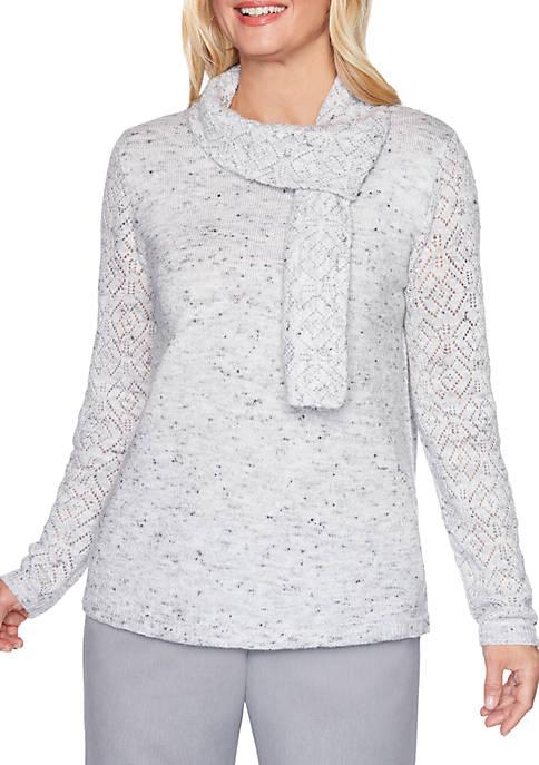 Alfred Dunner Petite Lake Geneva Glitter Pointelle Sweater