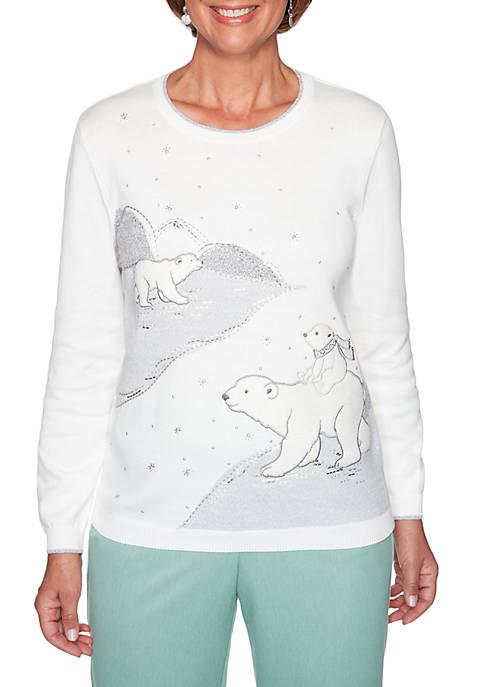 Alfred Dunner Petite Lake Geneva Polar Bear Sweater