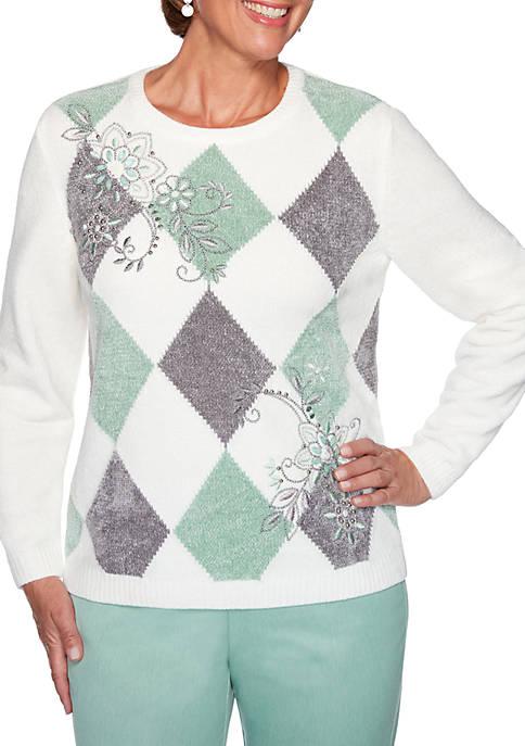 Alfred Dunner Petite Lake Geneva Diamond Sweater