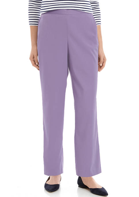 Alfred Dunner Womens Short Pull On Twill Pants