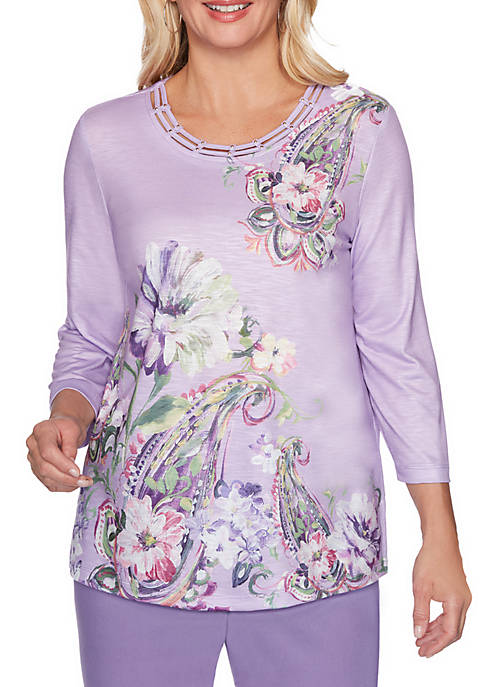 Alfred Dunner Loire Valley Paisley Floral Knit Top