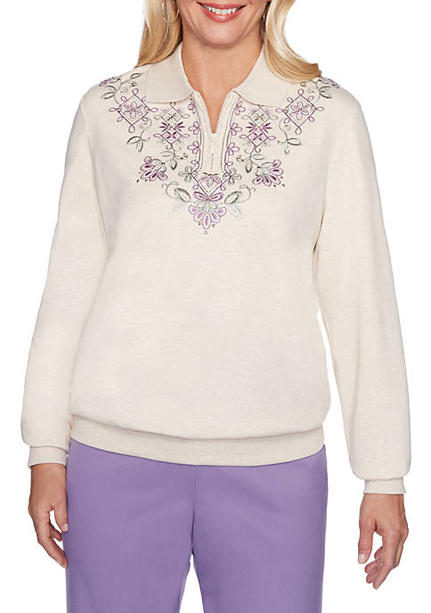 Alfred Dunner Loire Valley Embroidered Sweatshirt