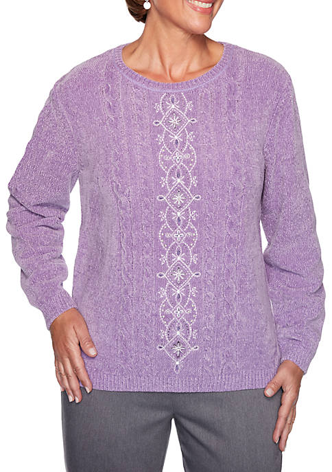 Alfred Dunner Womens Loire Valley Embroidered Sweater