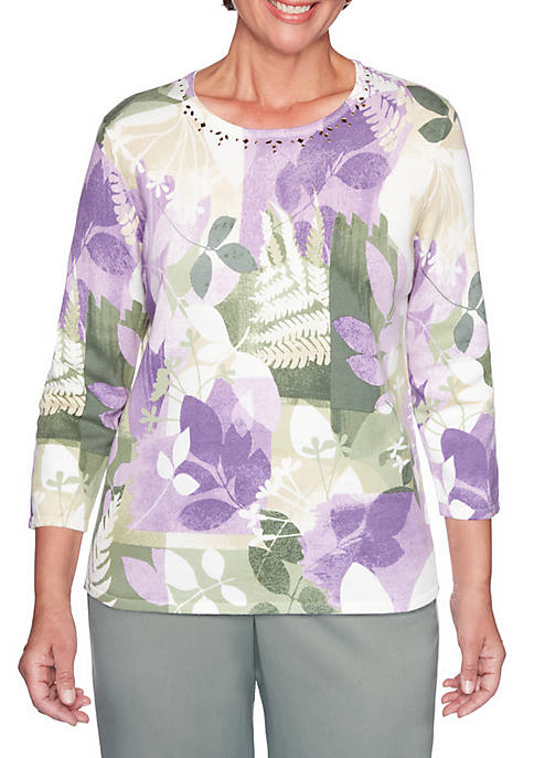 Alfred Dunner Loire Valley Patch Leaf Sweater