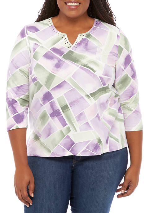 Alfred Dunner Plus Size Loire Valley Abstract Geometric