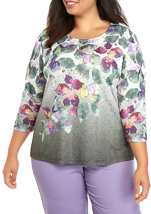 Alfred Dunner Plus Size Falling Leaves Knit Shirt