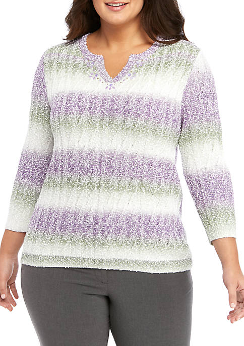 Alfred Dunner Plus Size Popcorn Biadere Sweater