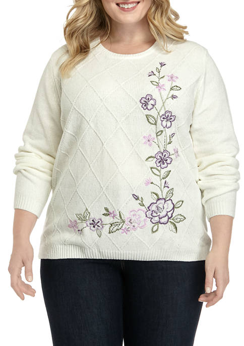 Alfred Dunner Plus Size Floral Embellished Chenille Sweater