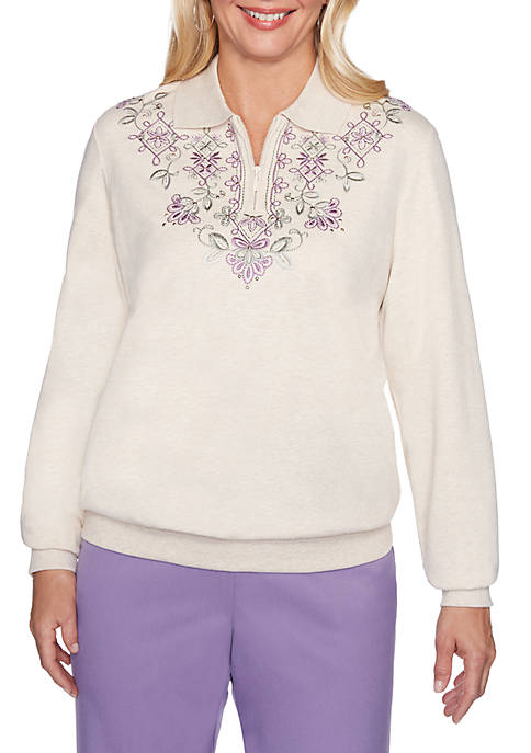 Alfred Dunner Petite Loire Valley Embroidered Yoke Knit