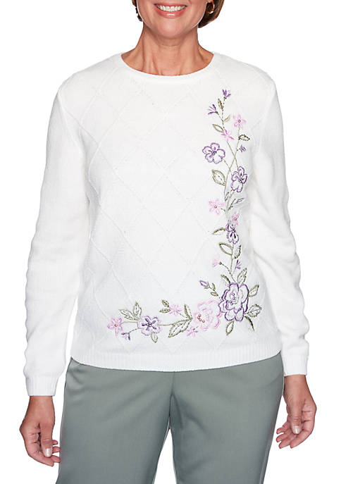 Alfred Dunner Petite Loire Valley Embroidered Chenille Floral