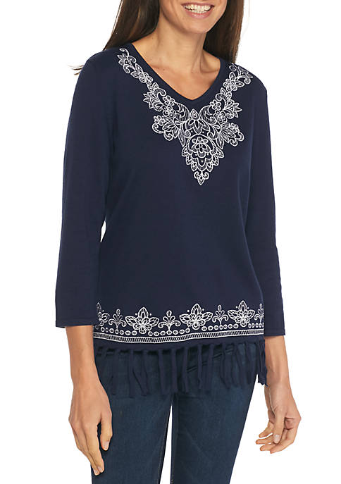 Alfred Dunner Montego Bay Scroll Yoke Fringe Sweater