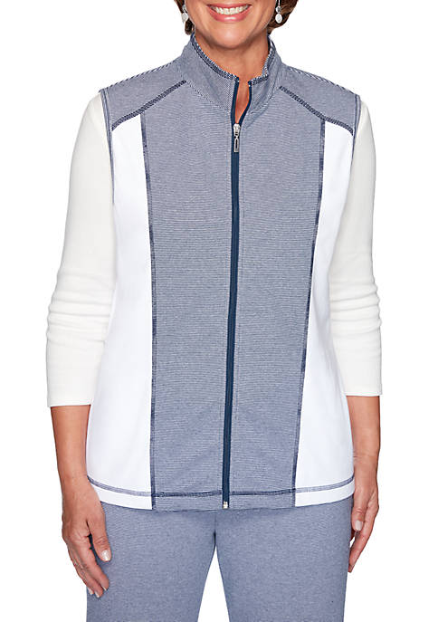 Alfred Dunner Womens Road Trip Stripe Color Block