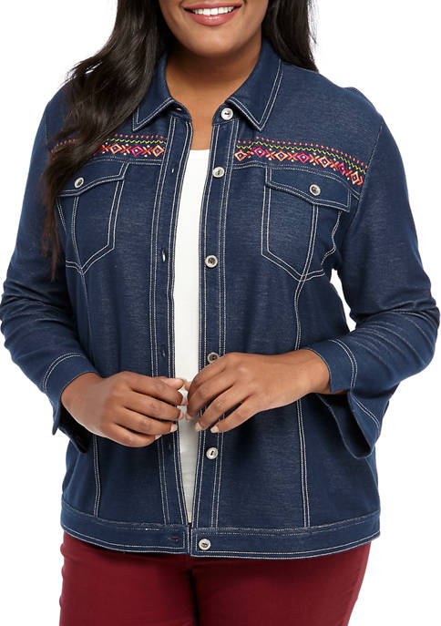 Alfred Dunner Plus Size Road Trip Embroidered Jacket