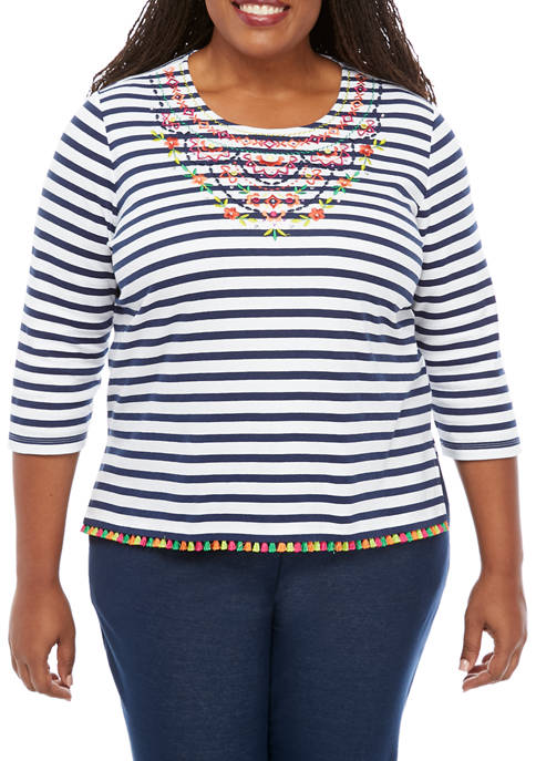 Alfred Dunner Plus Size Road Trip Stripe Embroidered