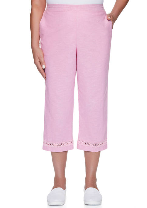 Alfred Dunner Womens Garden Party Solid Capris