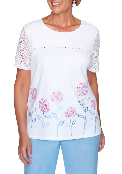 Alfred Dunner Womens Garden Party Floral Border Knit