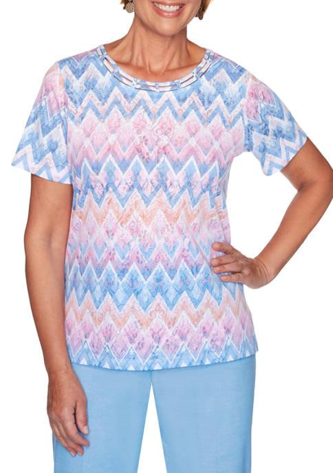 Alfred Dunner Womens Garden Party Chevron Multi-Color Top
