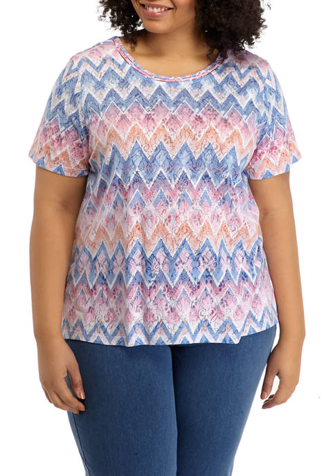 Alfred Dunner Plus Size Zigzag Print Shirt