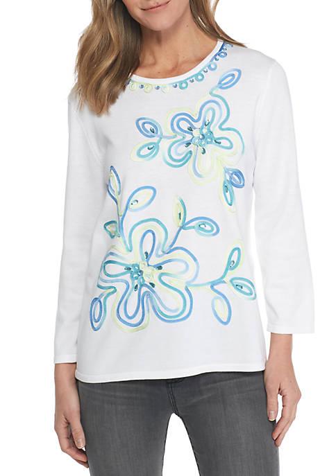 Alfred dunner petite bonita springs ribbon flower sweater belk petite bonita springs ribbon flower sweater mightylinksfo