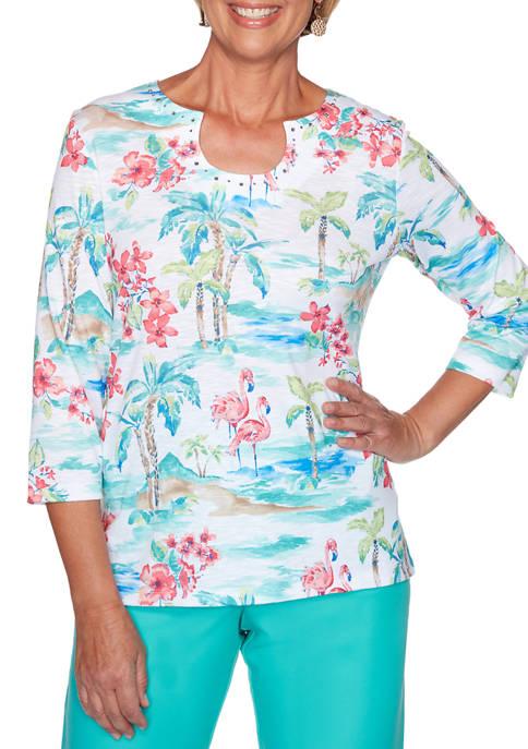 Alfred Dunner Womens Miami Beach Tropical Print Knit