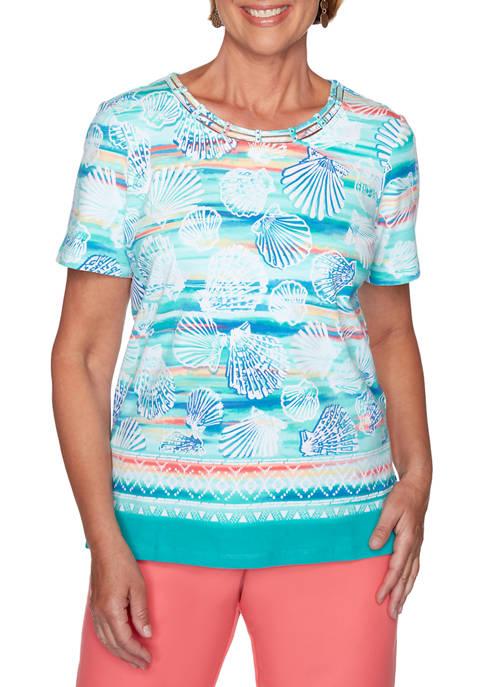 Alfred Dunner Womens Miami Beach Shell Print Knit
