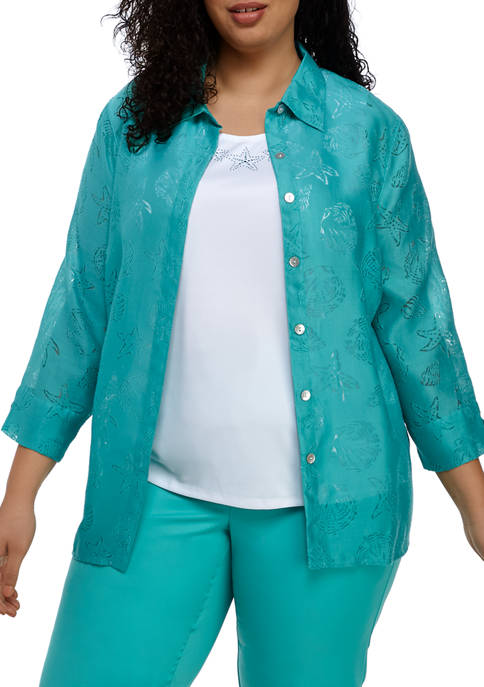 Alfred Dunner Plus Size Miami Beach Shell Two