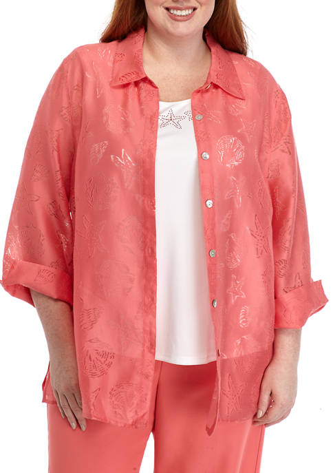 Plus Size Miami Beach Shell Two for One Top
