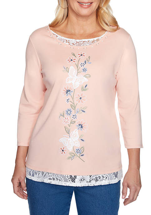 Womens Pearls of Wisdom Center Butterfly Top