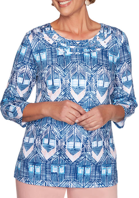 Alfred Dunner Womens Pearls of Wisdom Diamond Ikat