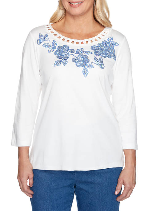 Alfred Dunner Womens Pullout Yoke Embroidered Top