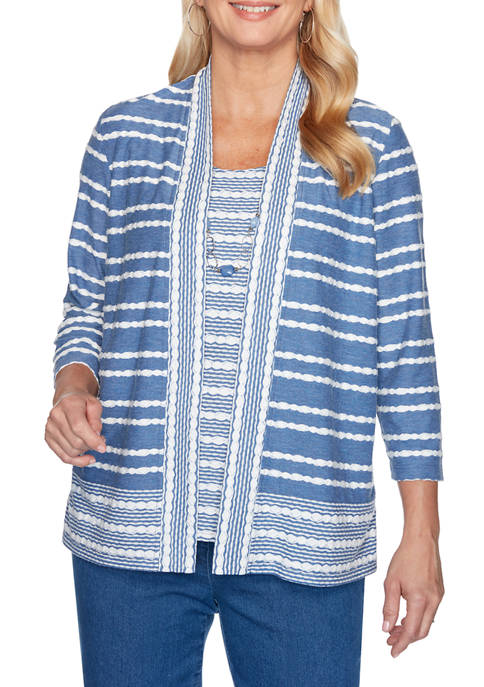 Alfred Dunner Womens Pearls of Wisdom Biadere Spliced