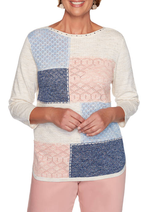 Alfred Dunner Womens Pearls of Wisdom Colorblock Sweater