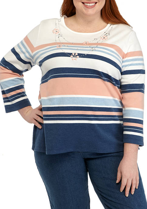 Alfred Dunner Plus Size Embellished Necklace Stripe Knit