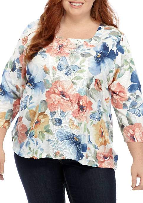 Alfred Dunner Plus Size Floral Butterfly Knit Top